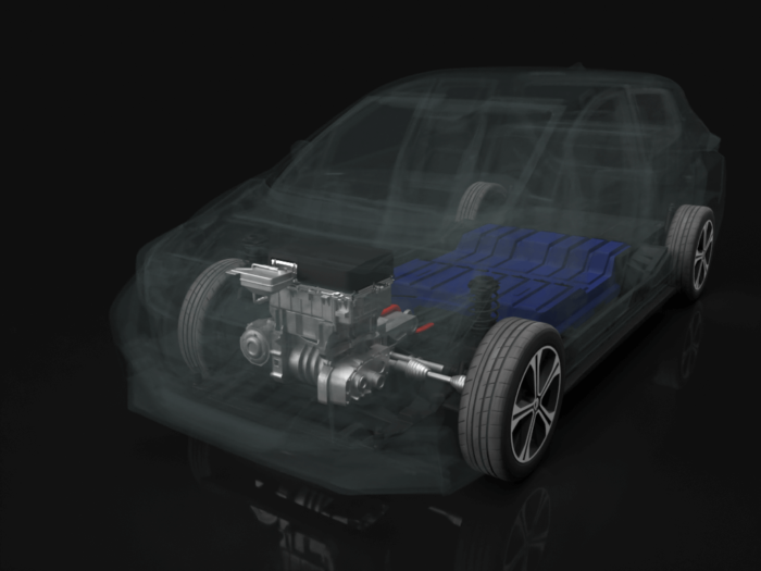 An electric car model highlighting the engine and showing what it looks like