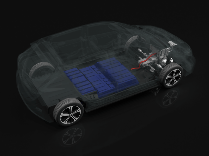 a Nissan LEAF with the battery pack highlighted in blue
