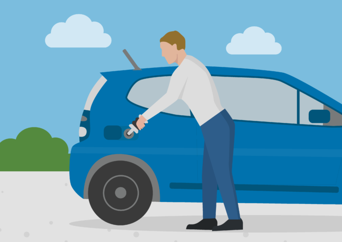 illustration of a man pouring a cleaning agent into his car to reduce the emissions